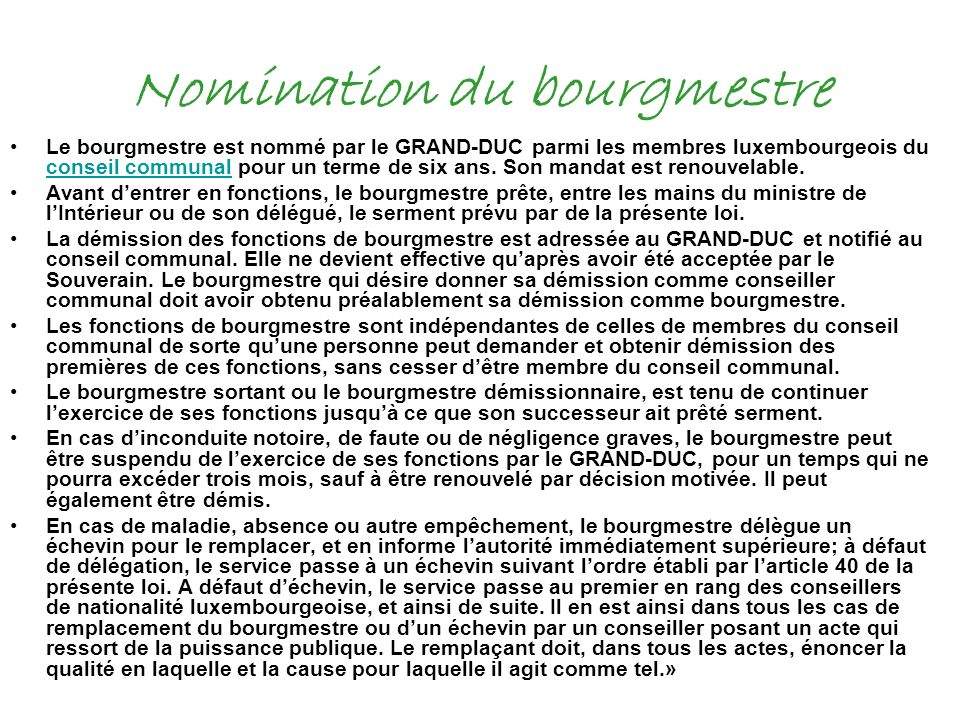 Nomination du bourgmestre