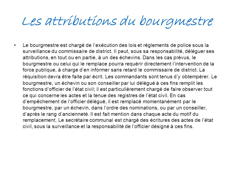 Les attributions du bourgmestre