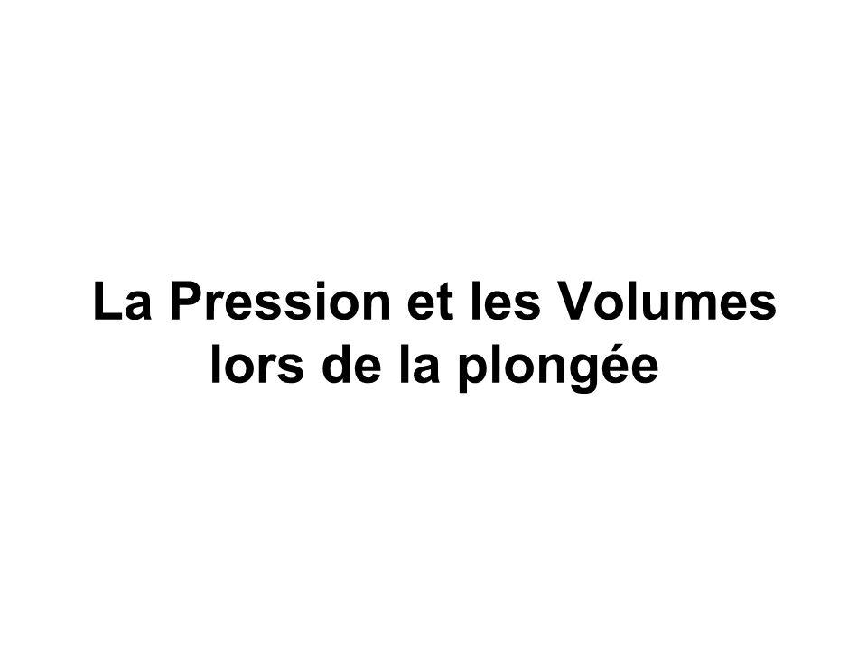 La Pression et les Volumes lors de la plongée