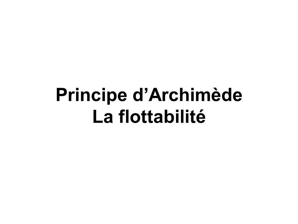 Principe d'Archimède La flottabilité