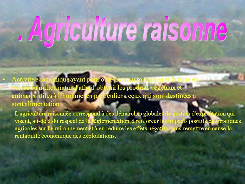 . Agriculture raisonne
