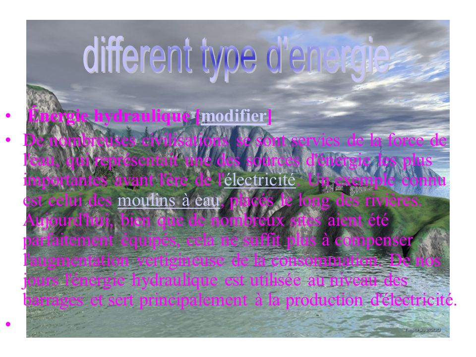 different type d energie