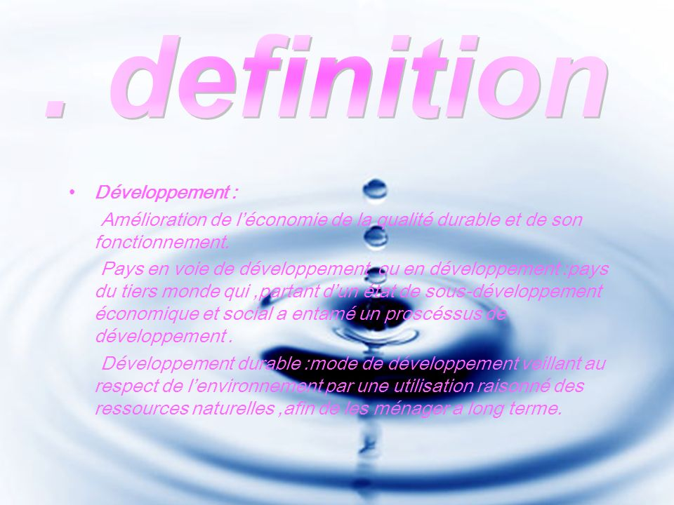 . definition Développement :
