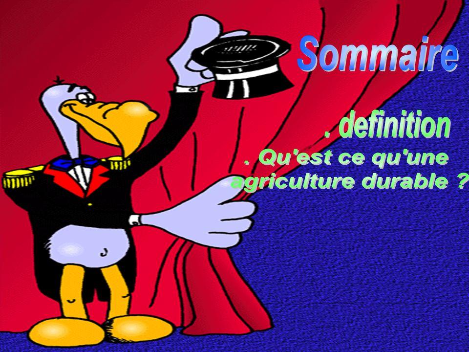 Sommaire . definition . Qu est ce qu une agriculture durable