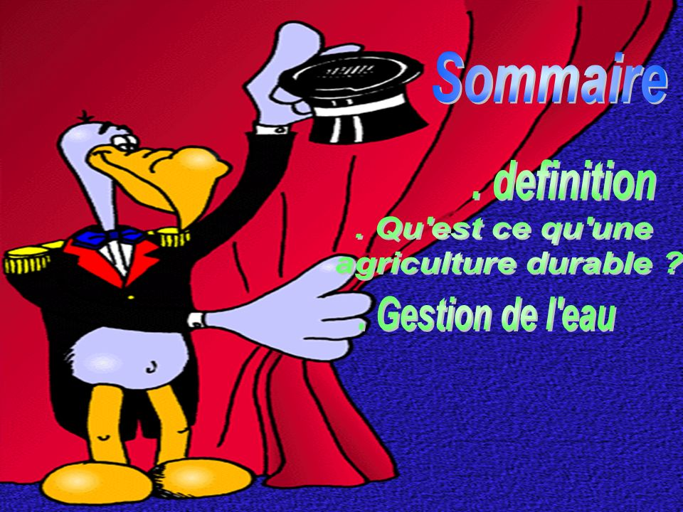 Sommaire . definition . Qu est ce qu une agriculture durable . Gestion de l eau