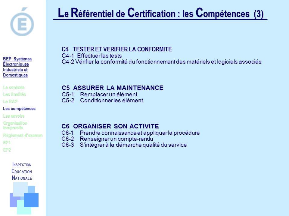 Le Référentiel de Certification : les Compétences (3)