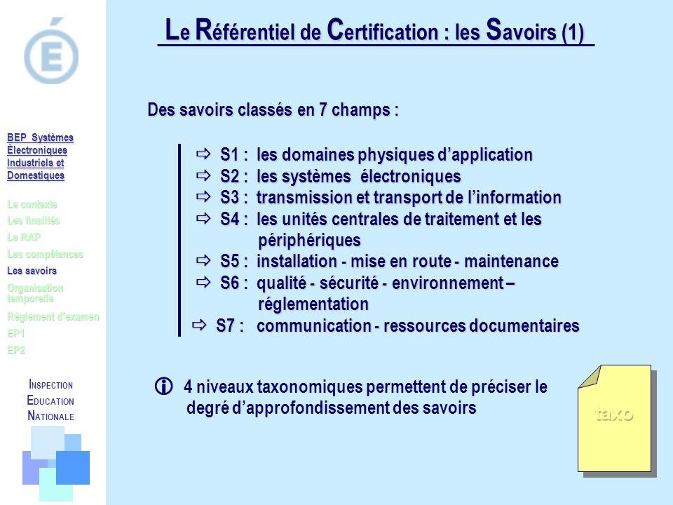 Le Référentiel de Certification : les Savoirs (1)