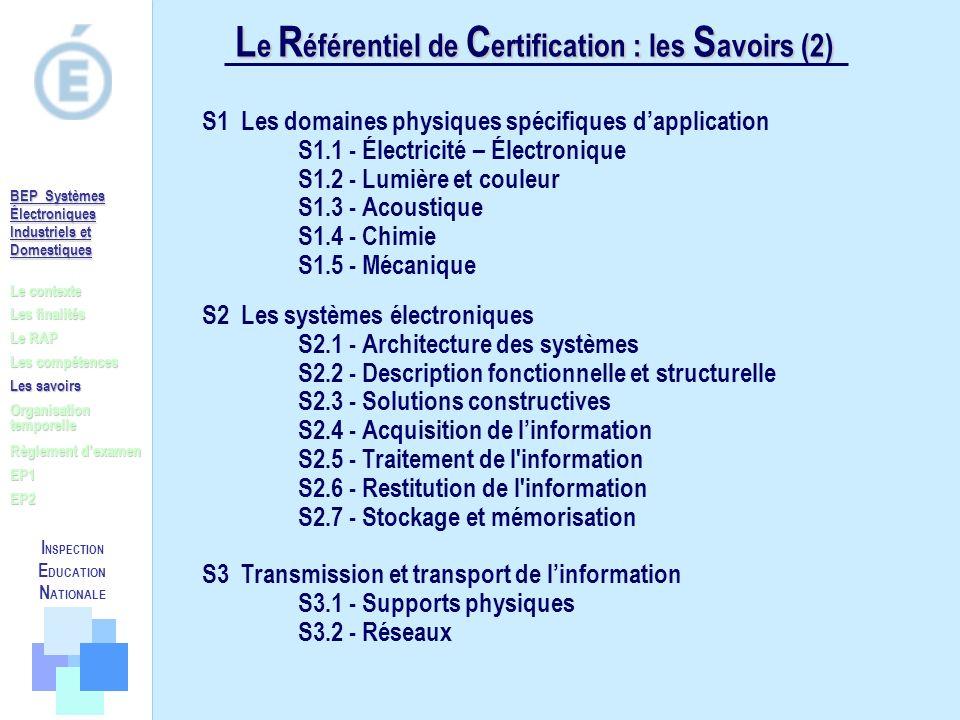 Le Référentiel de Certification : les Savoirs (2)