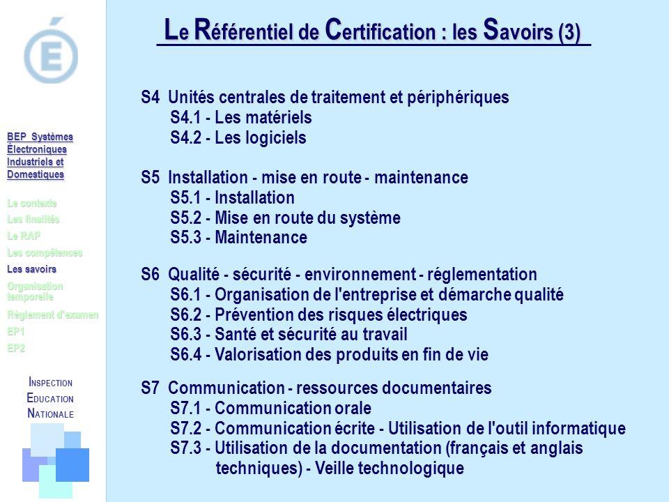 Le Référentiel de Certification : les Savoirs (3)