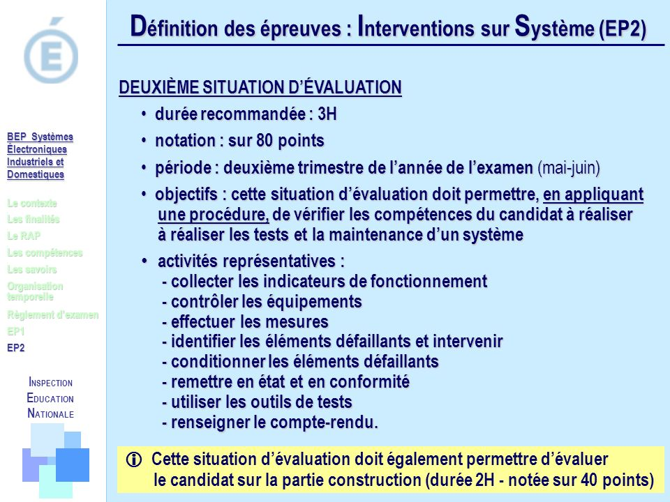 Définition des épreuves : Interventions sur Système (EP2)