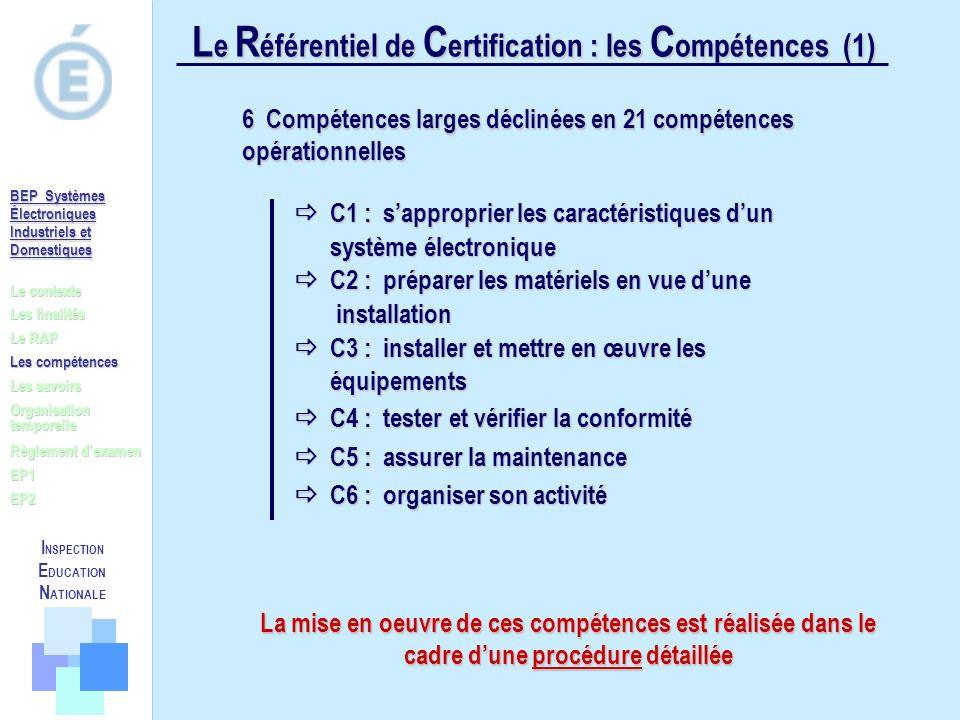 Le Référentiel de Certification : les Compétences (1)
