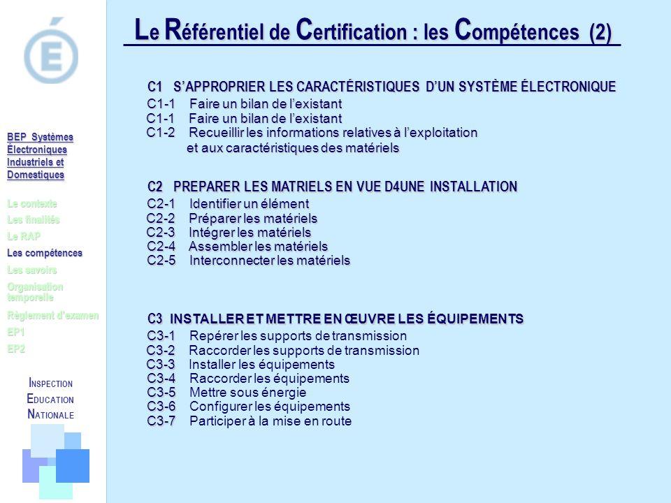 Le Référentiel de Certification : les Compétences (2)