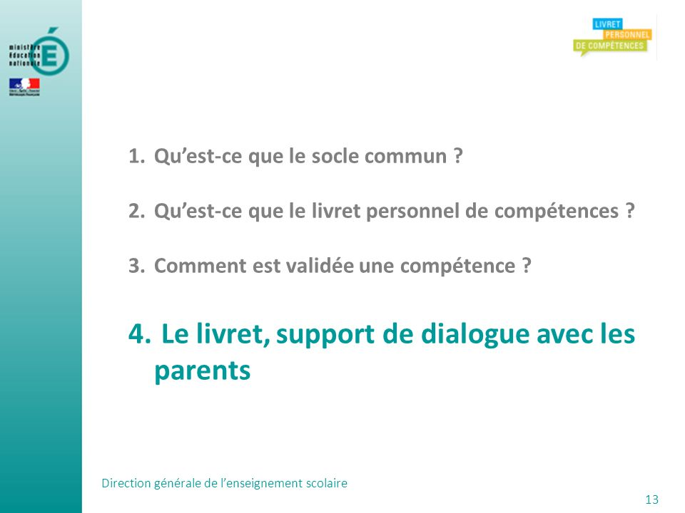 Le livret, support de dialogue avec les parents