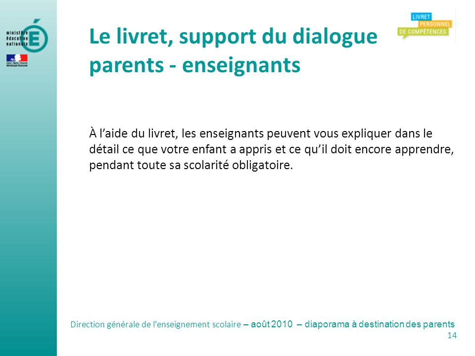 Le livret, support du dialogue parents - enseignants