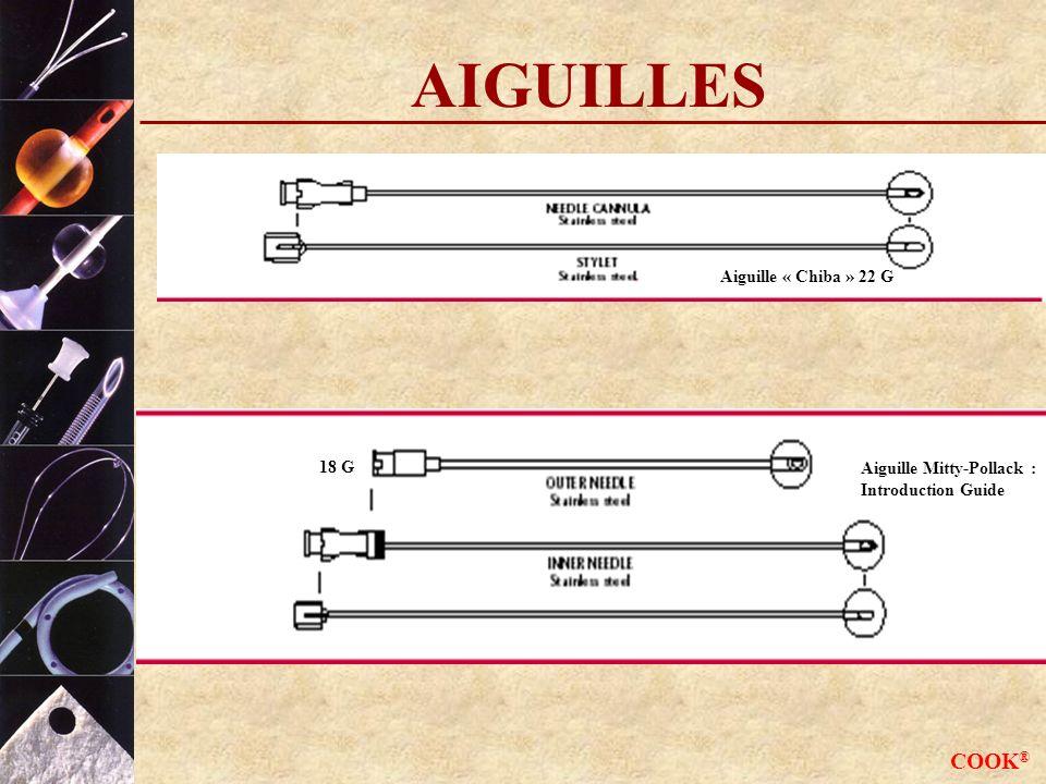AIGUILLES COOK® Aiguille « Chiba » 22 G 18 G Aiguille Mitty-Pollack :