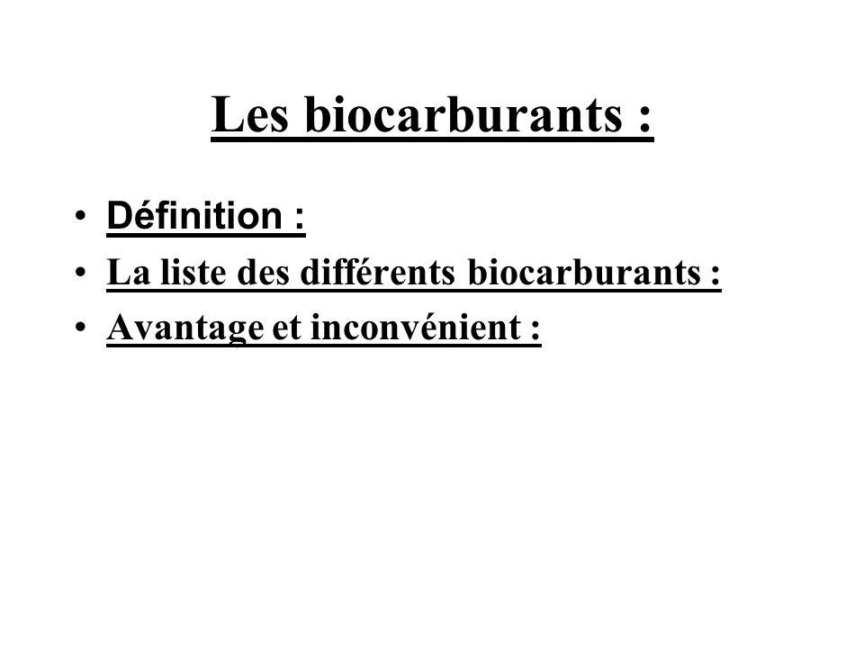Les biocarburants : Définition :