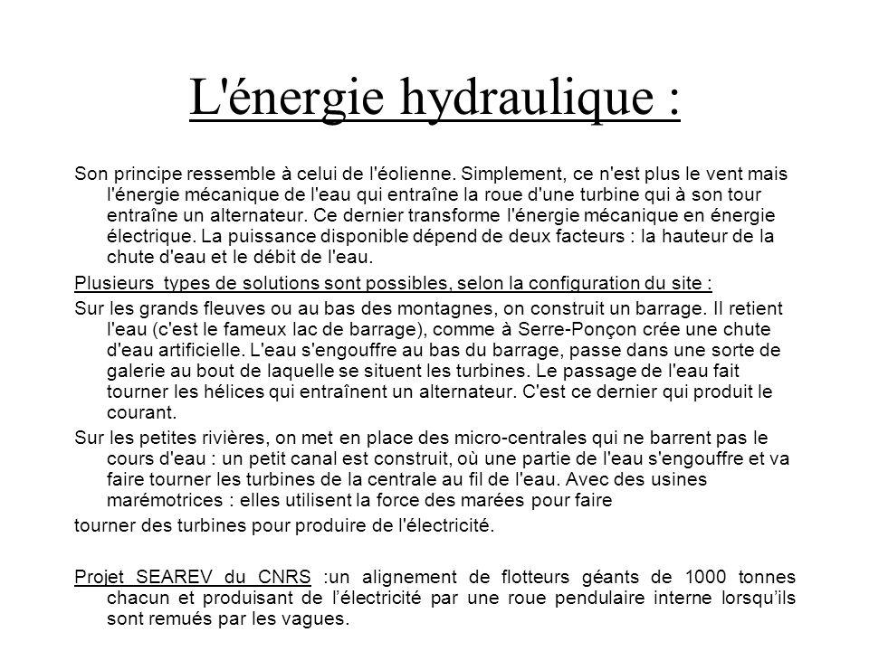 L énergie hydraulique :