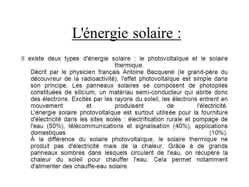 L énergie solaire :