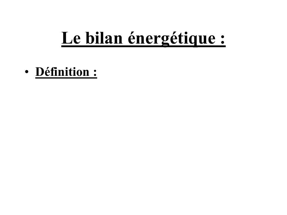 Le bilan énergétique : Définition :