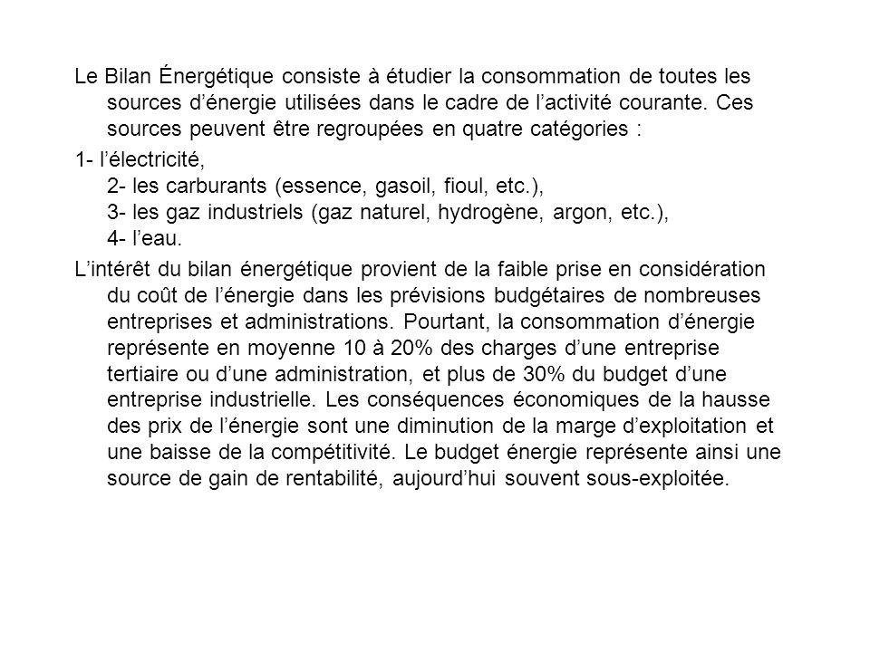 Le Bilan Énergétique consiste à étudier la consommation de toutes les sources d'énergie utilisées dans le cadre de l'activité courante. Ces sources peuvent être regroupées en quatre catégories :