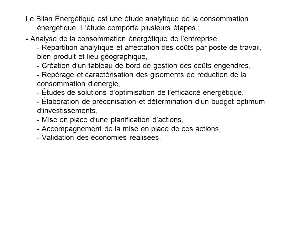 Le Bilan Énergétique est une étude analytique de la consommation énergétique. L'étude comporte plusieurs étapes :