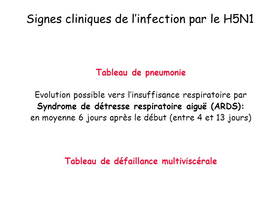 Signes cliniques de l'infection par le H5N1