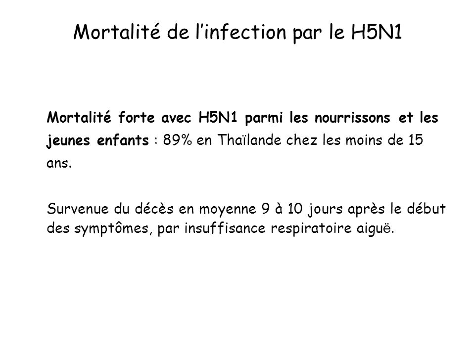 Mortalité de l'infection par le H5N1