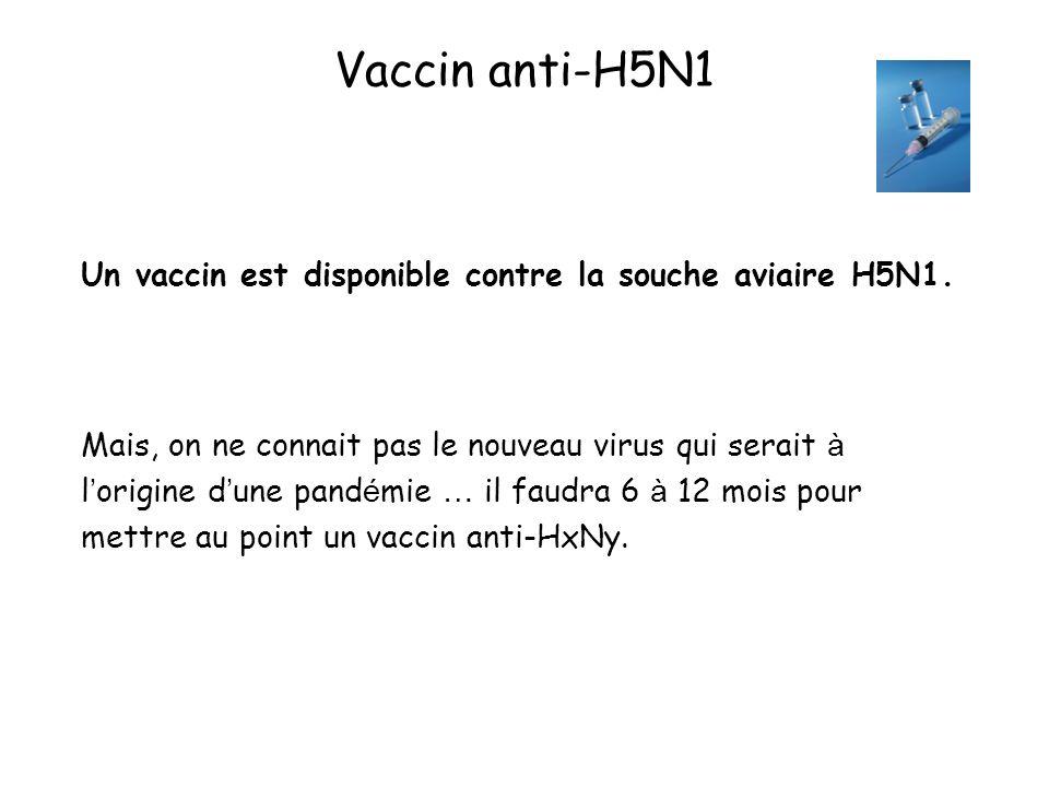 Vaccin anti-H5N1Un vaccin est disponible contre la souche aviaire H5N1.