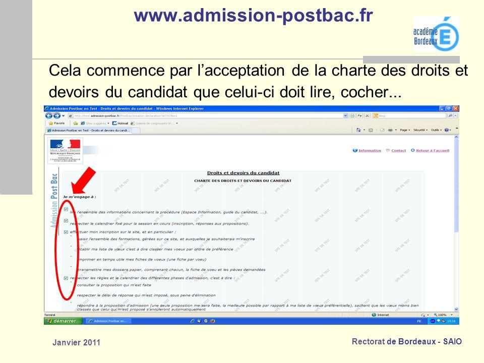 www.admission-postbac.fr Cela commence par l'acceptation de la charte des droits et. devoirs du candidat que celui-ci doit lire, cocher...