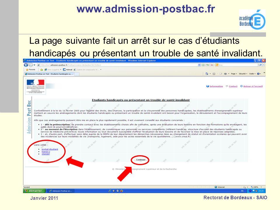www.admission-postbac.fr La page suivante fait un arrêt sur le cas d'étudiants. handicapés ou présentant un trouble de santé invalidant.