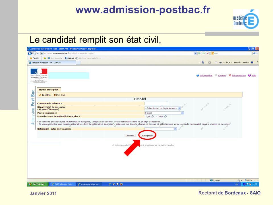 www.admission-postbac.fr Le candidat remplit son état civil,
