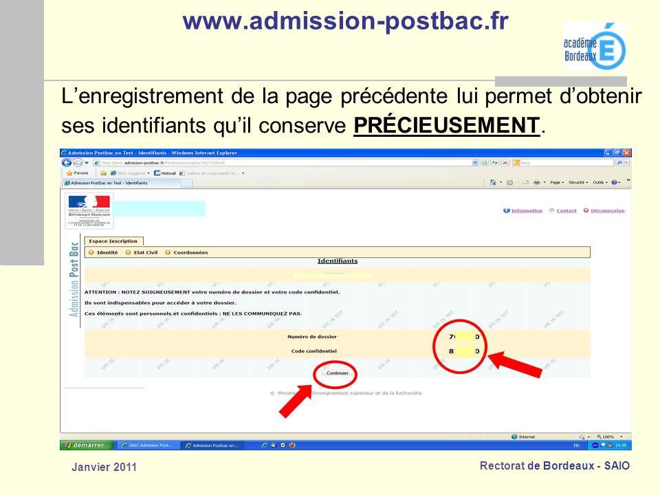 www.admission-postbac.fr L'enregistrement de la page précédente lui permet d'obtenir. ses identifiants qu'il conserve PRÉCIEUSEMENT.