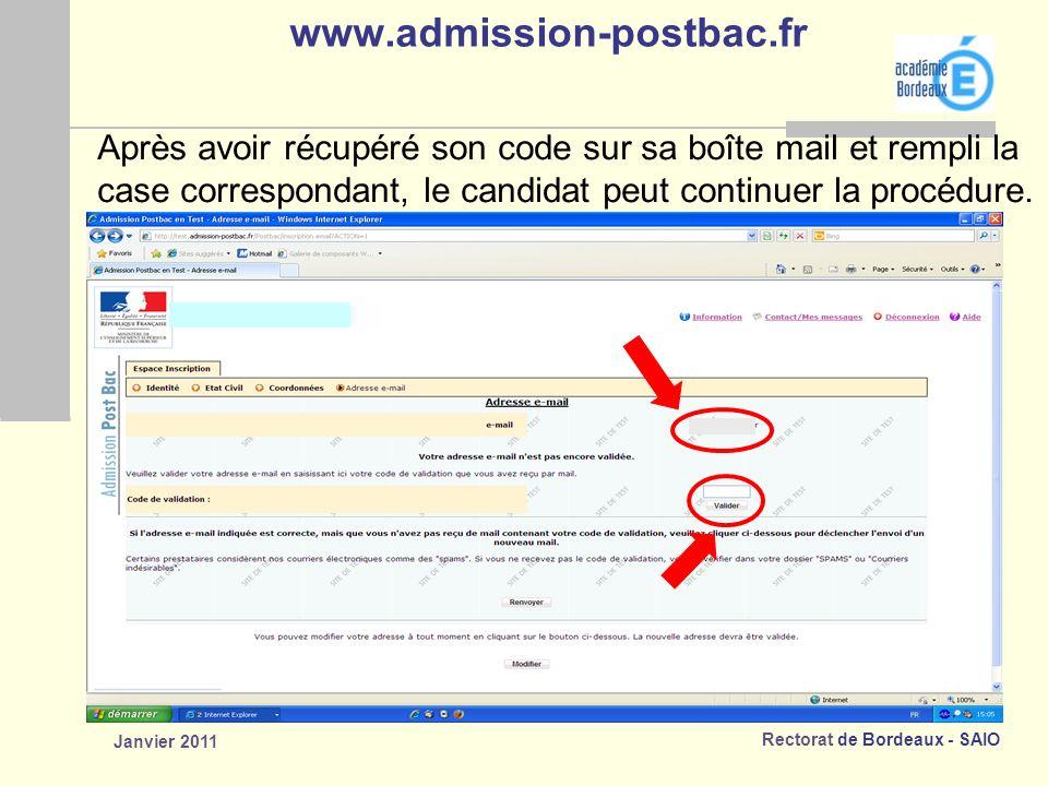 www.admission-postbac.fr Après avoir récupéré son code sur sa boîte mail et rempli la. case correspondant, le candidat peut continuer la procédure.