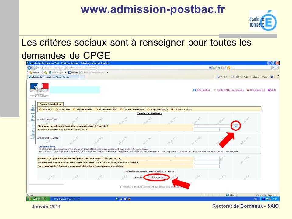 www.admission-postbac.fr Les critères sociaux sont à renseigner pour toutes les. demandes de CPGE.