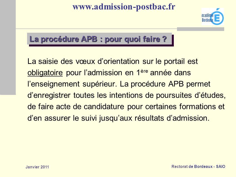 www.admission-postbac.fr La procédure APB : pour quoi faire