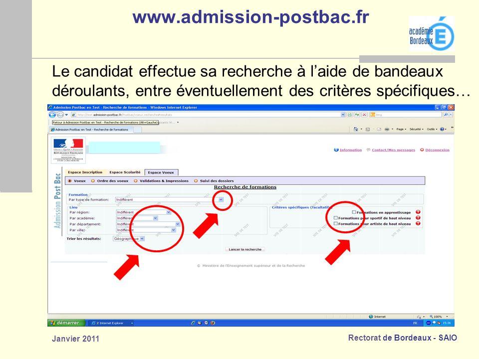 www.admission-postbac.fr Le candidat effectue sa recherche à l'aide de bandeaux. déroulants, entre éventuellement des critères spécifiques…