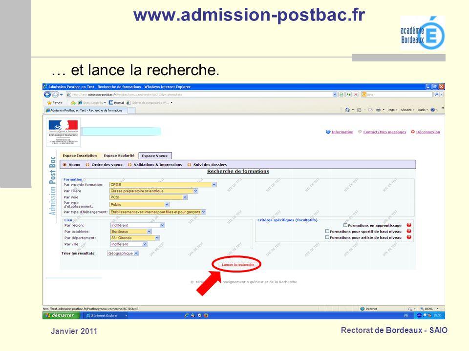 www.admission-postbac.fr … et lance la recherche. Janvier 2011