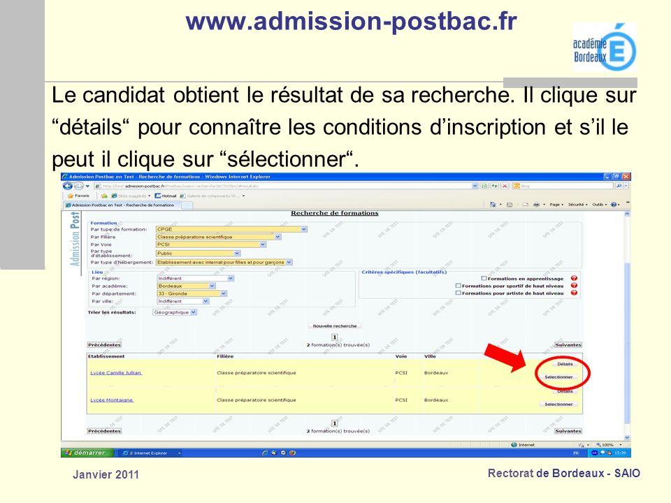 www.admission-postbac.fr Le candidat obtient le résultat de sa recherche. Il clique sur.