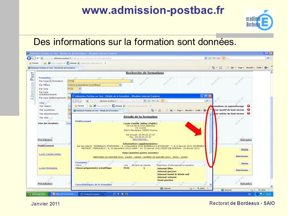 www.admission-postbac.fr Des informations sur la formation sont données. Janvier 2011
