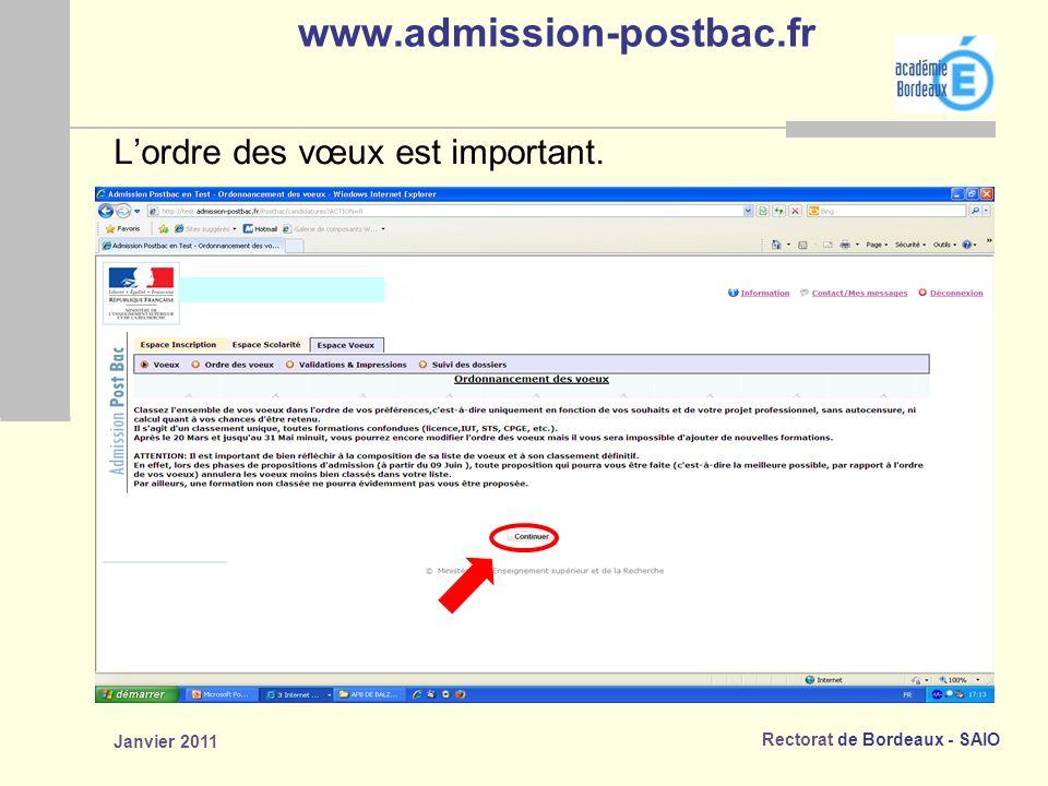 www.admission-postbac.fr L'ordre des vœux est important. Janvier 2011