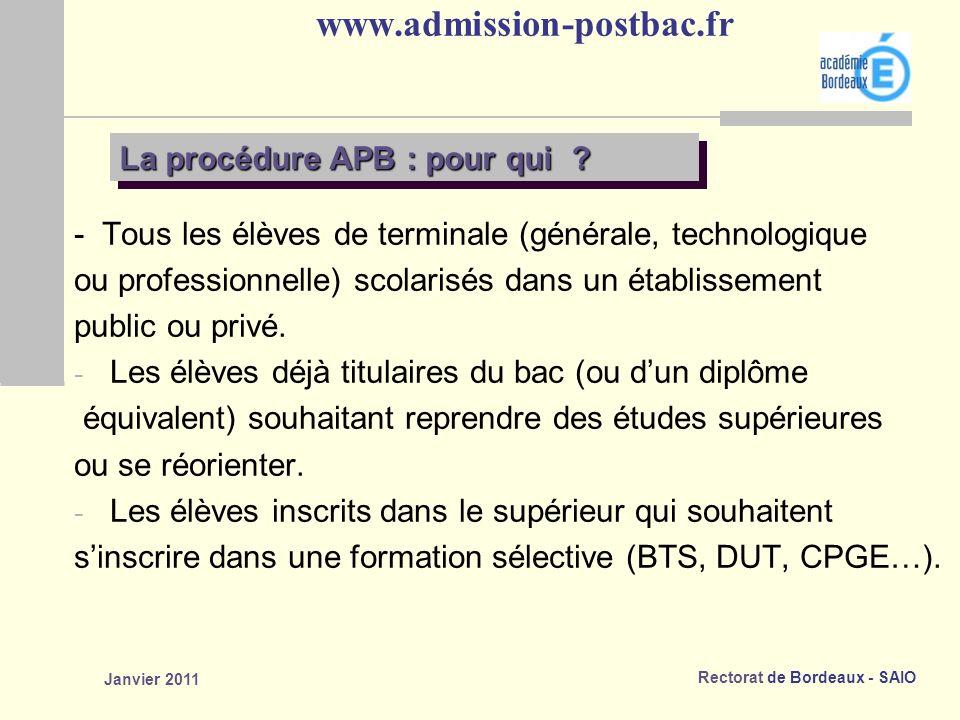 www.admission-postbac.fr La procédure APB : pour qui