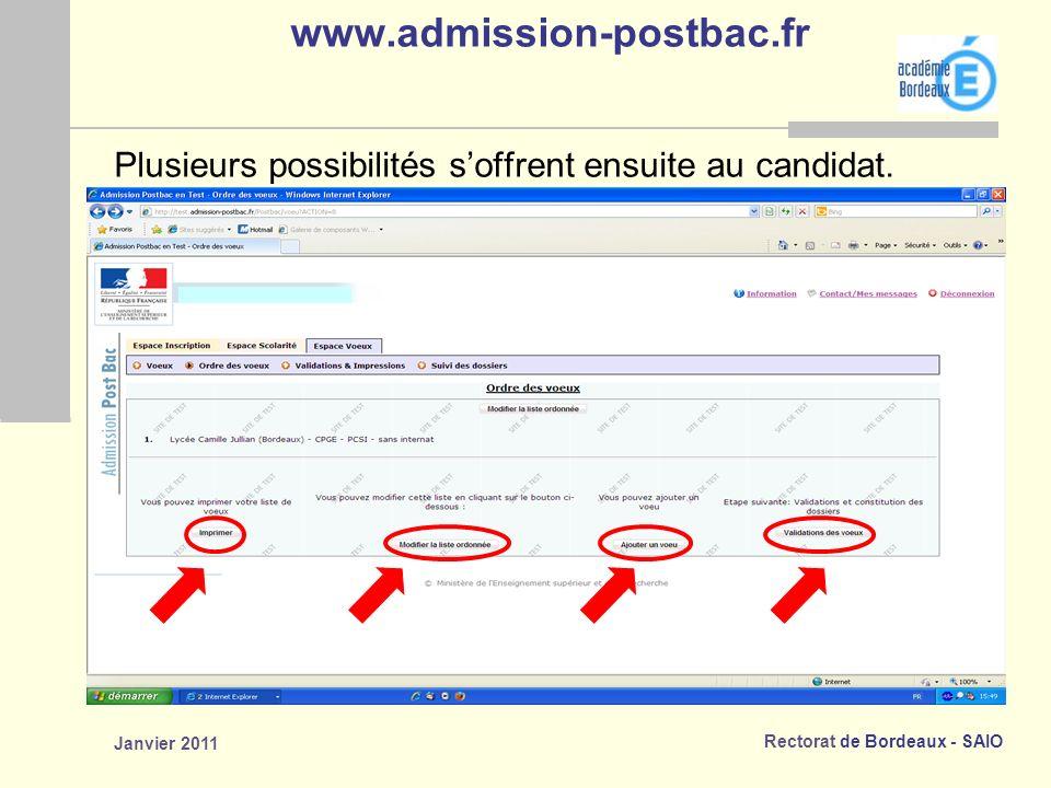 www.admission-postbac.fr Plusieurs possibilités s'offrent ensuite au candidat. Janvier 2011