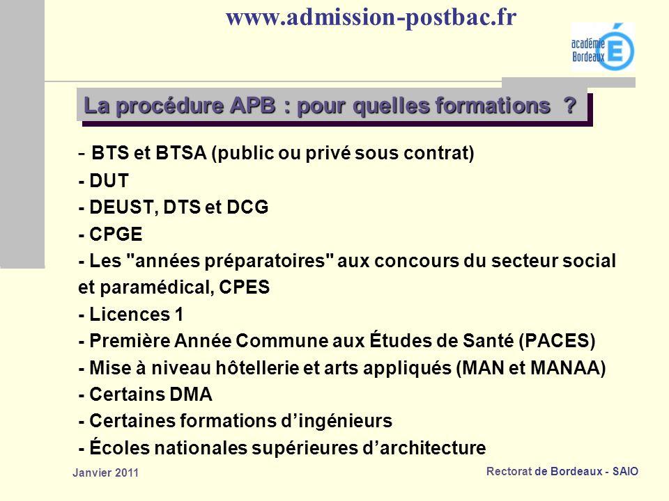 www.admission-postbac.fr La procédure APB : pour quelles formations