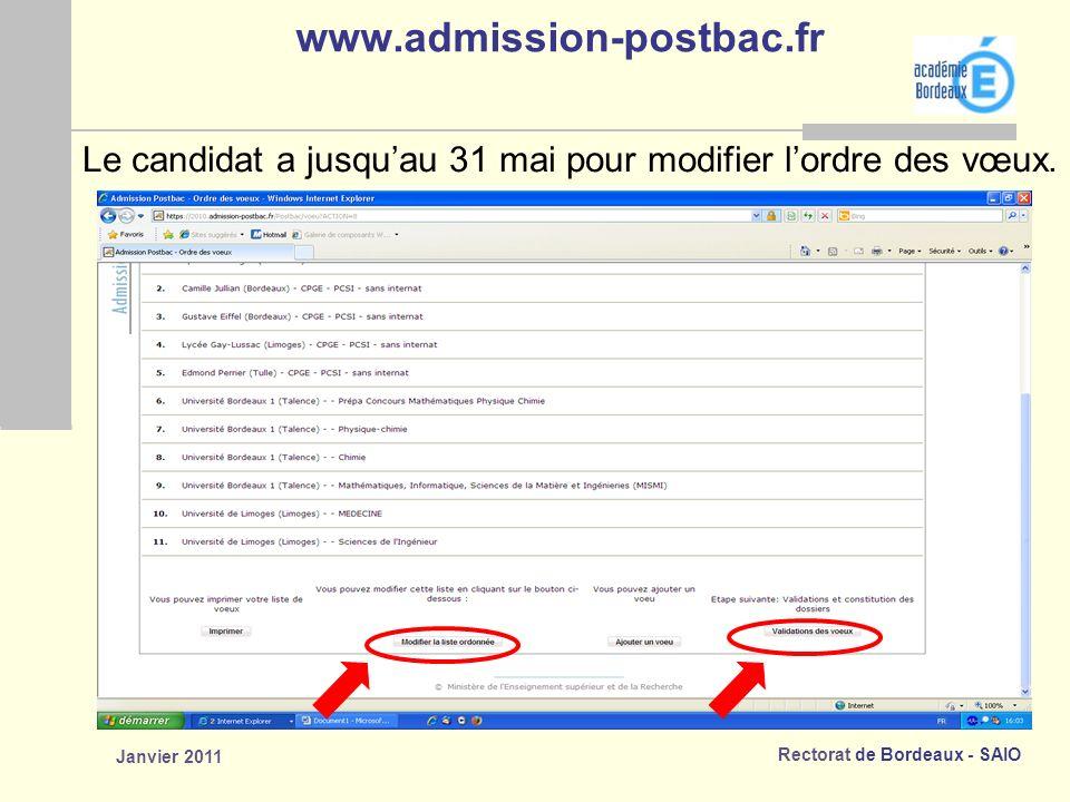 www.admission-postbac.fr Le candidat a jusqu'au 31 mai pour modifier l'ordre des vœux. Janvier 2011