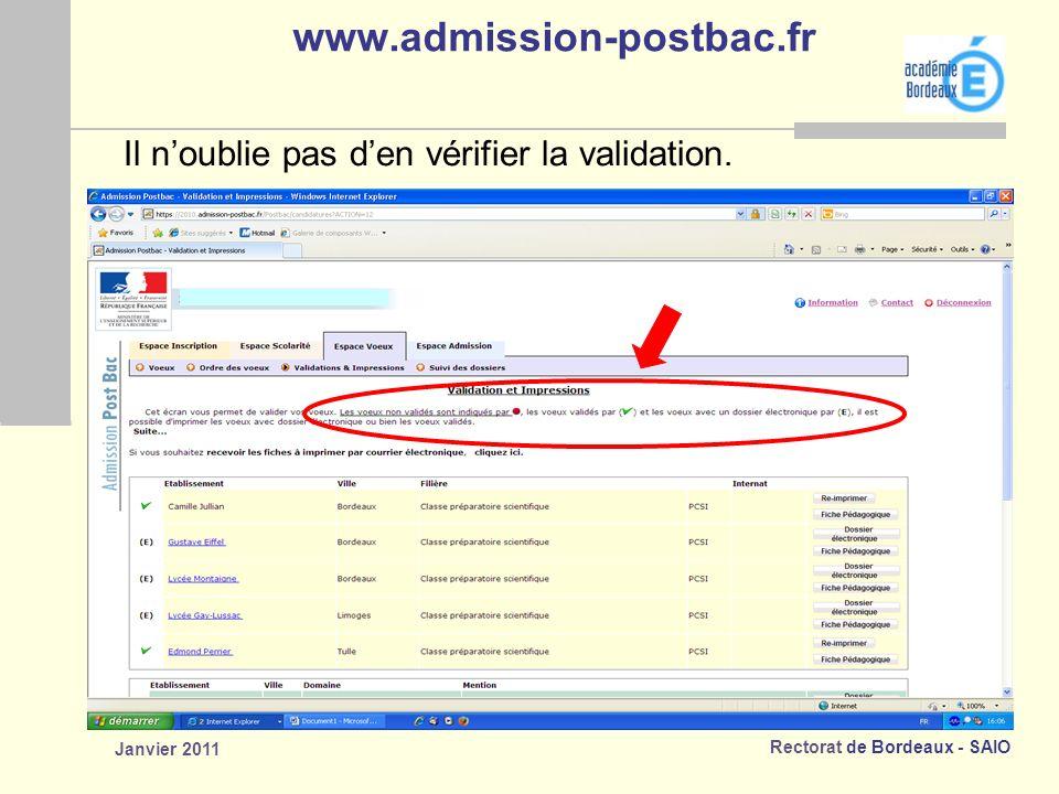 www.admission-postbac.fr Il n'oublie pas d'en vérifier la validation.