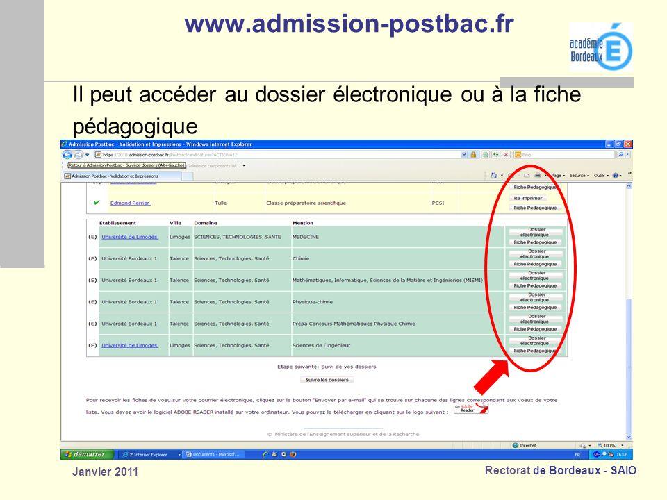 www.admission-postbac.fr Il peut accéder au dossier électronique ou à la fiche.