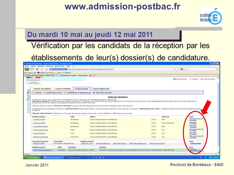 www.admission-postbac.fr Vérification par les candidats de la réception par les. établissements de leur(s) dossier(s) de candidature.