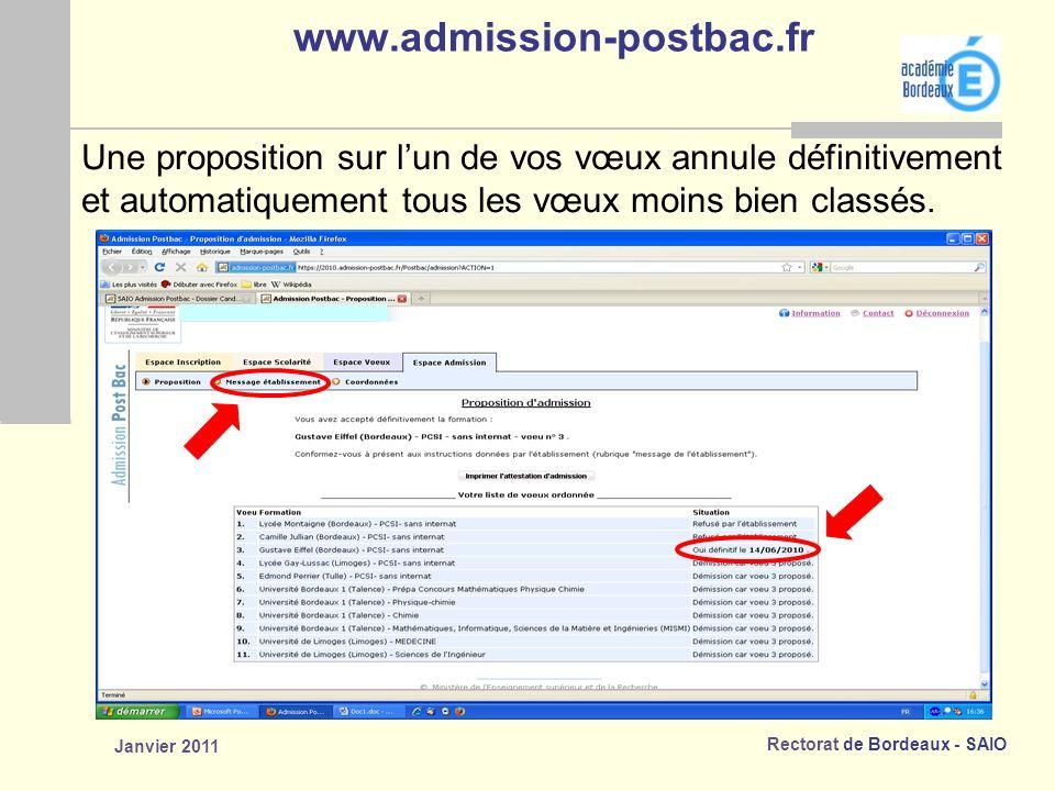 www.admission-postbac.fr Une proposition sur l'un de vos vœux annule définitivement. et automatiquement tous les vœux moins bien classés.