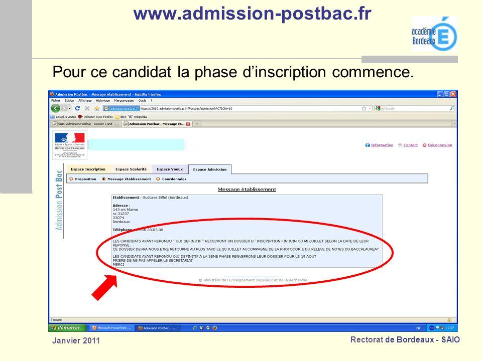 www.admission-postbac.fr Pour ce candidat la phase d'inscription commence. Janvier 2011