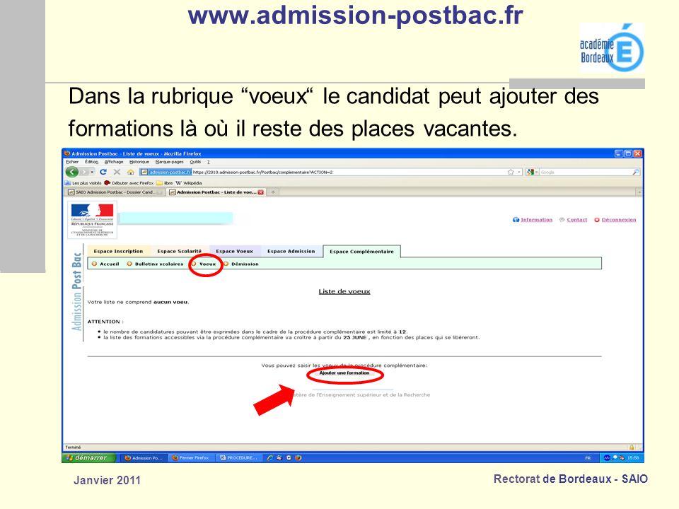 www.admission-postbac.fr Dans la rubrique voeux le candidat peut ajouter des. formations là où il reste des places vacantes.